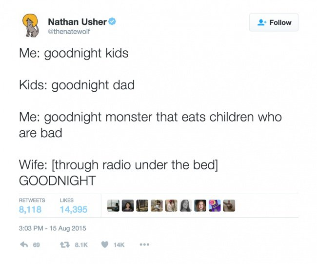 parenting tweets goodnight monster
