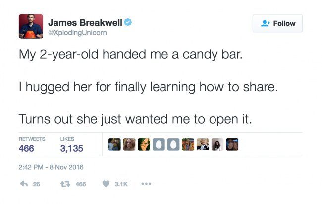 parenting tweets open candy bar