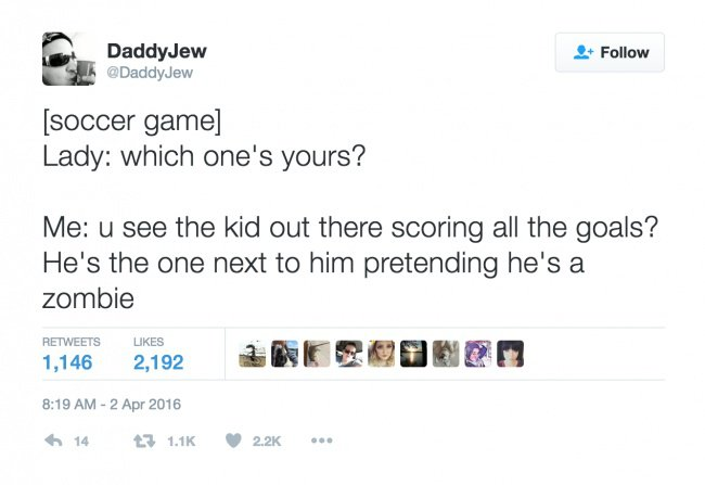 parenting tweets pretending hes a zombie