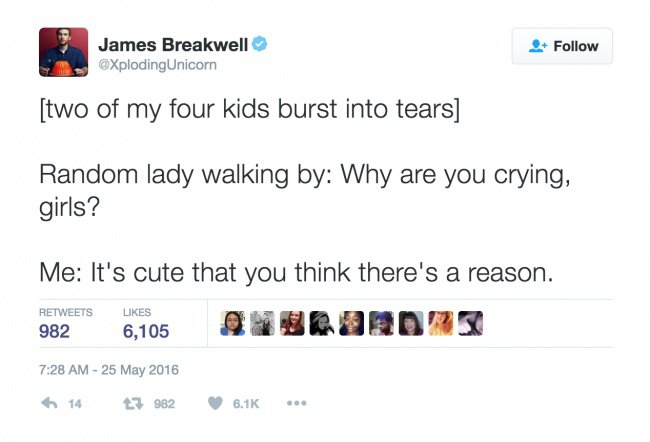 parenting tweets why are you crying