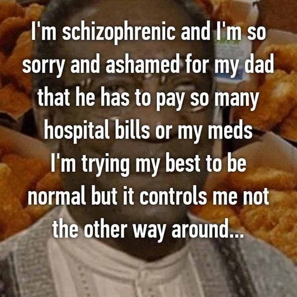 real life description schizophrenia hospital bills