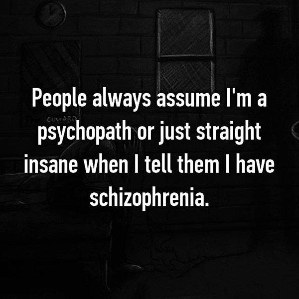 real life description schizophrenia people assume