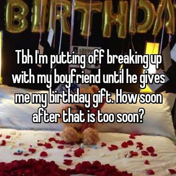 reasons waiting to break up birthday gift
