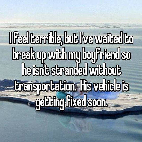 reasons waiting to break up vehicle getting fixed