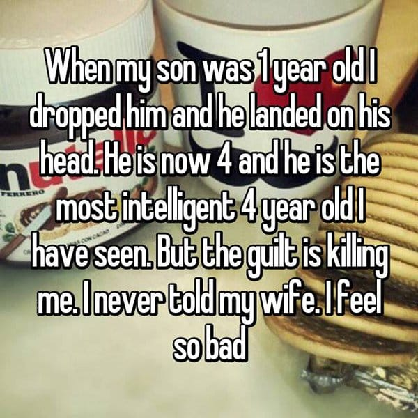 secrets in marriage dropped son on his head