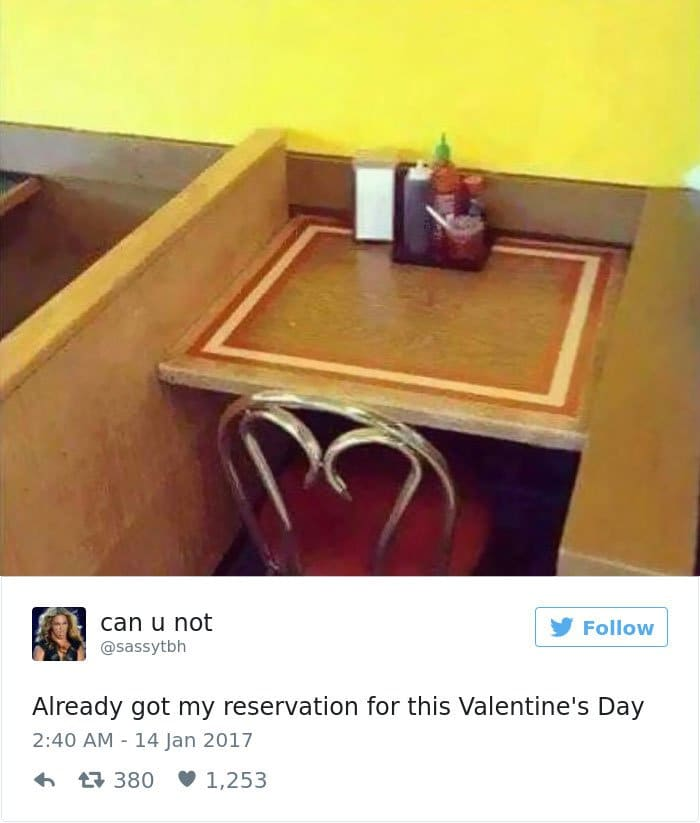 single people jokes reservation for valentines