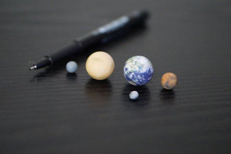 3d-planet-models Tiny Mercury Venus Earth Mars Moon