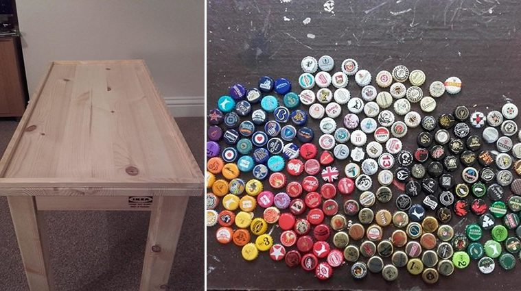 DIY Bottle Caps Table