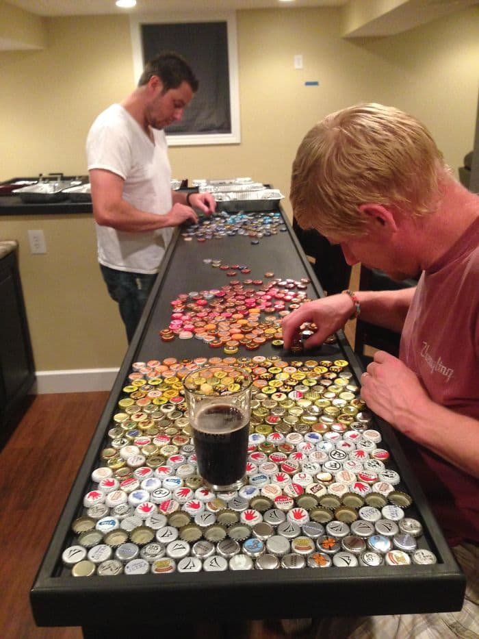 bottle cap counter top placing the tops