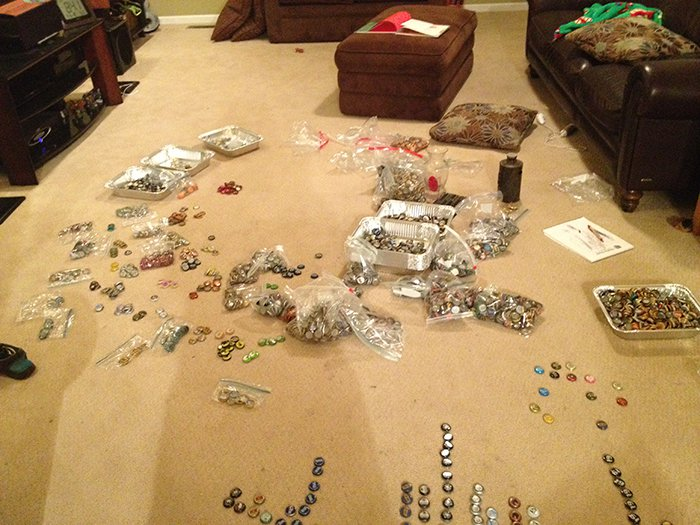 bottle cap counter top sorting out