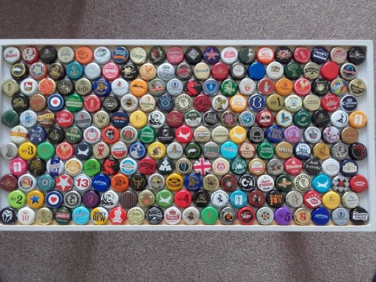 bottle caps laid on table