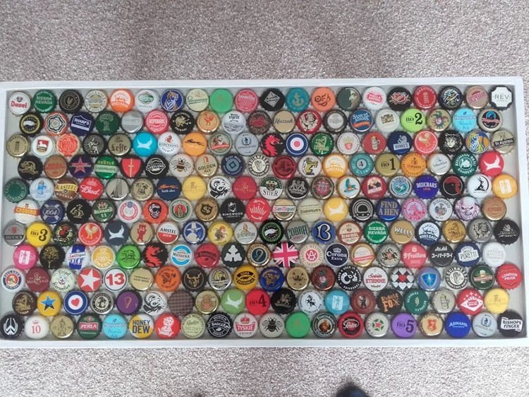 bottle caps on table