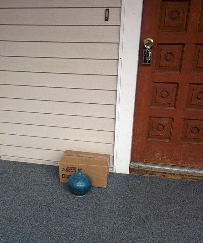 box behind vase