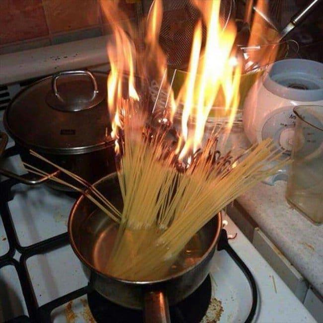 burning pasta pot