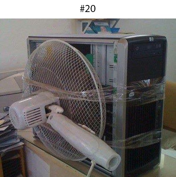 computer with fan taped to it