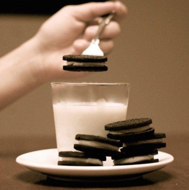 cookies fork milk