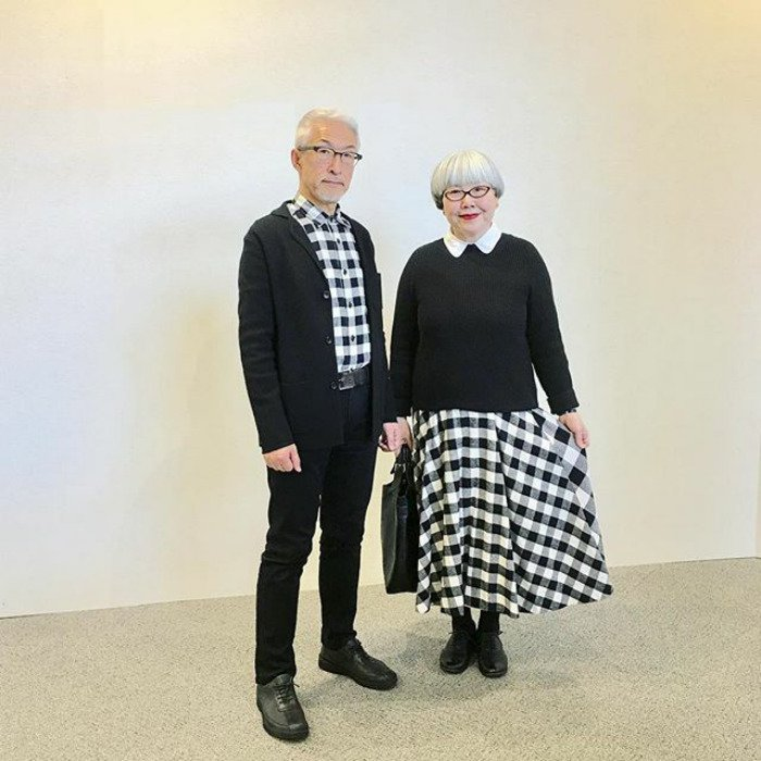 couple matching outfits checkered skirt and shirt