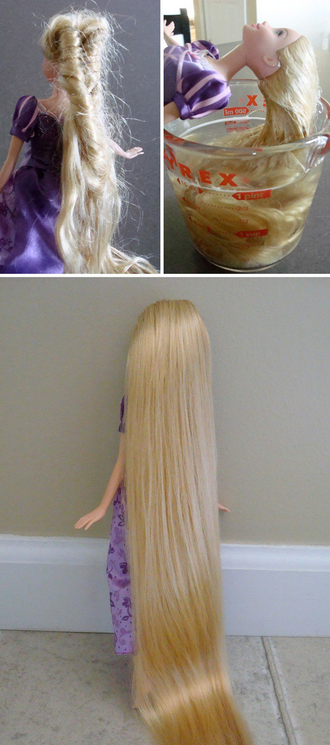 doll hair glass