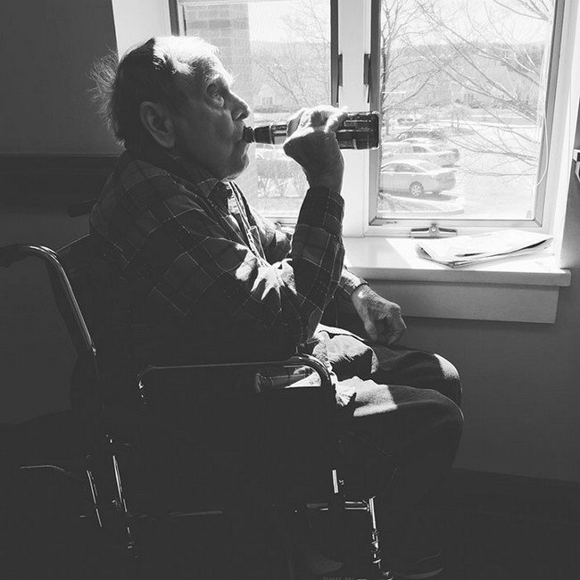 elderly man beer
