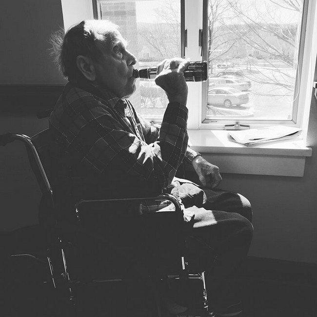 elderly man beer