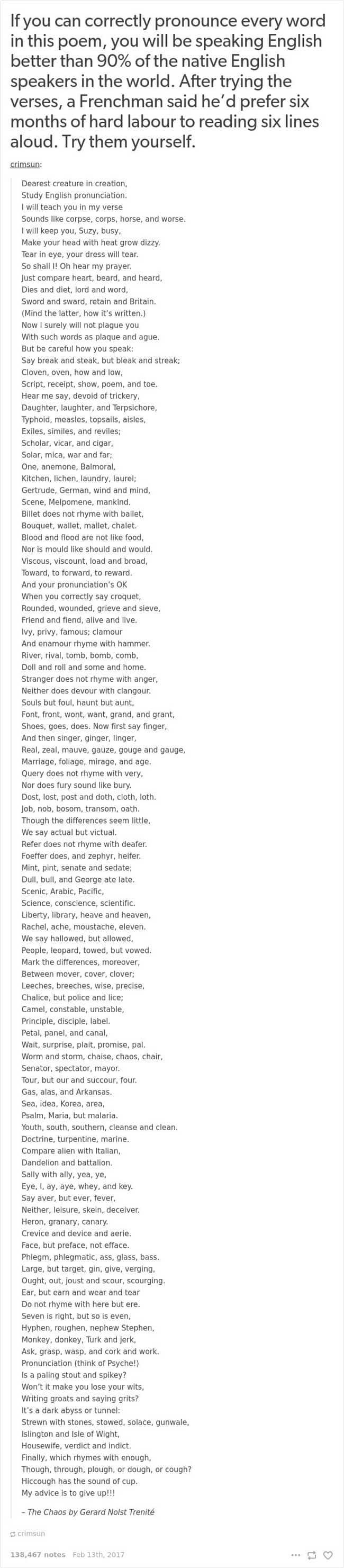 english language jokes poem