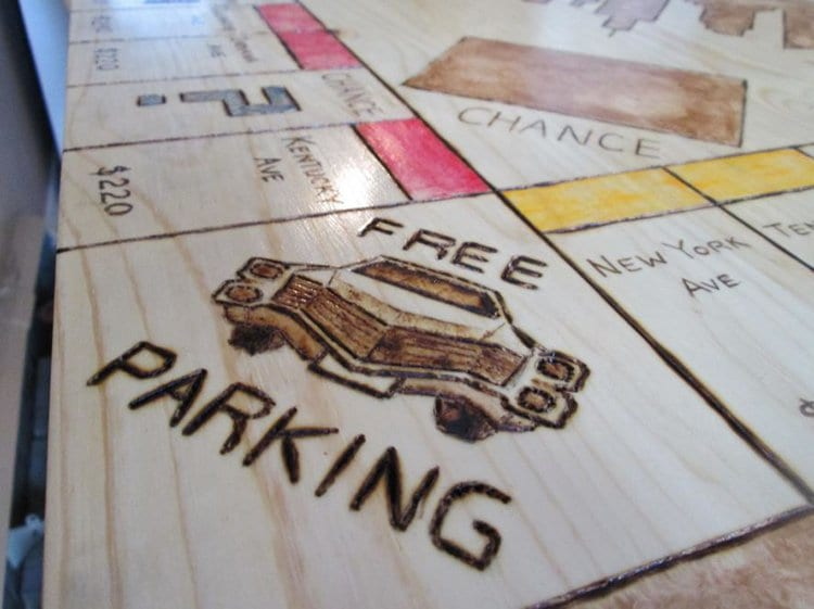 free parking close up monopoly table