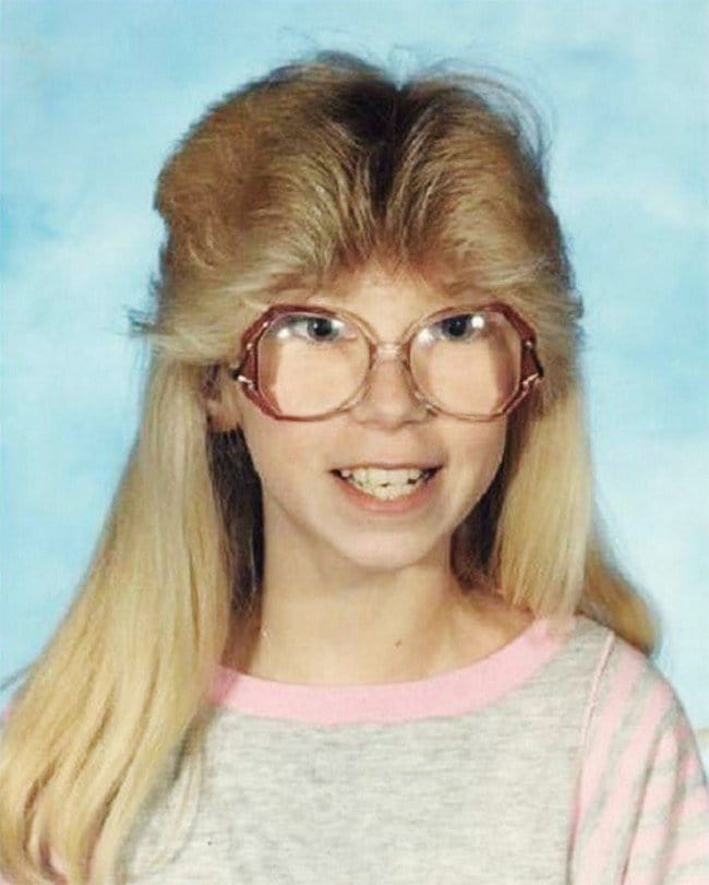funny 80s 90s hairstyles blond glasses
