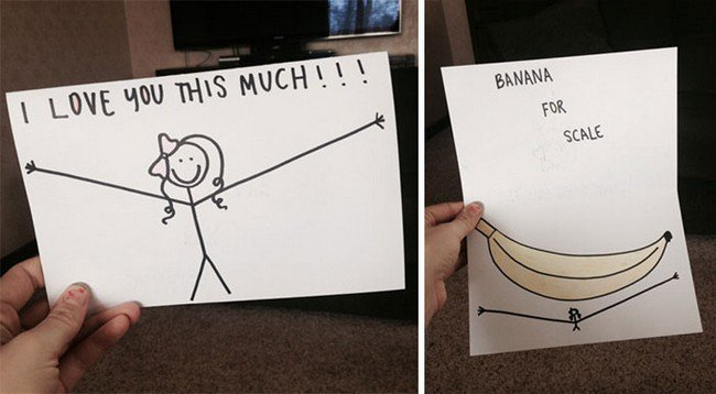 funny love notes banana card