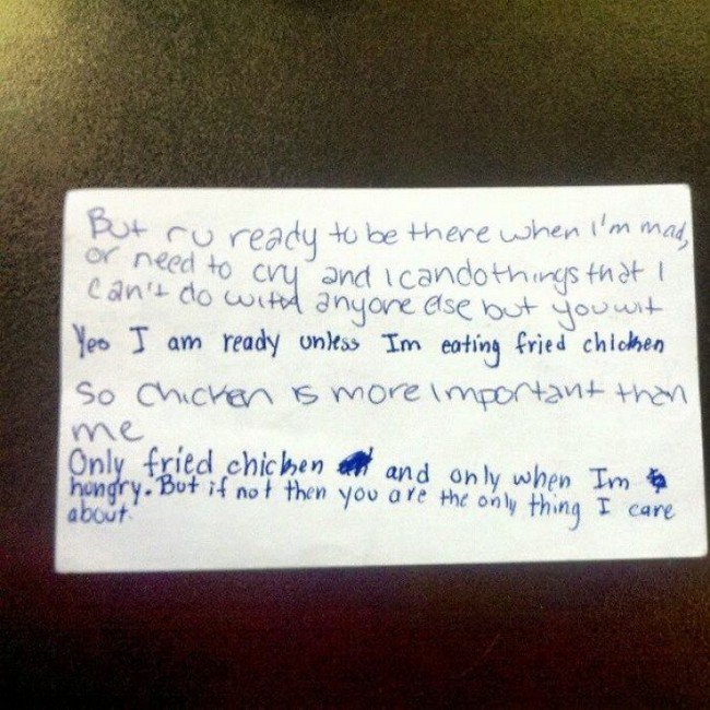 funny love notes fried chicken importance