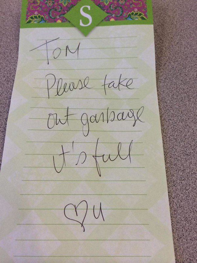 funny love notes garbage