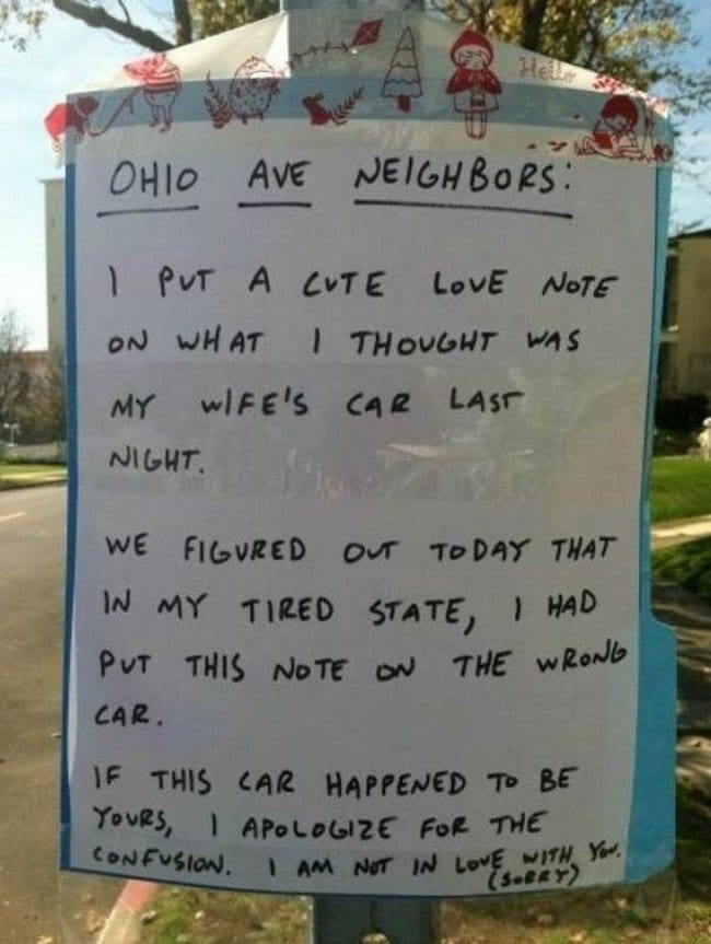 funny love notes neighbors clarification