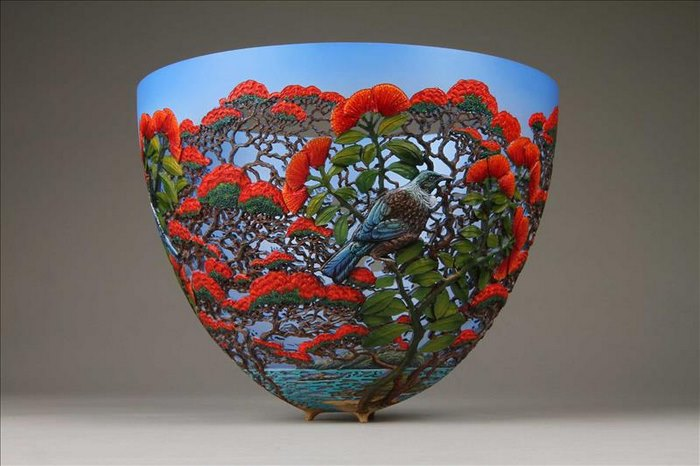 gordon pembridge wood carving bird flowers