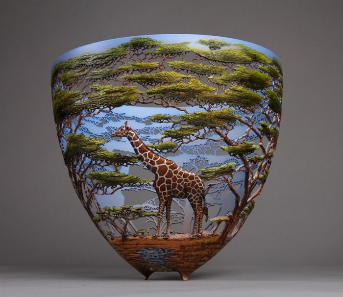 gordon pembridge wood carving giraffe trees