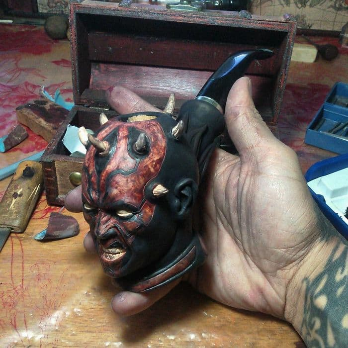 hand carved darth maul