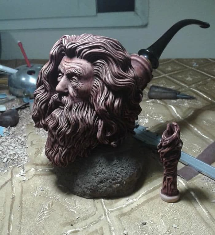 hand carved gandalf pipe