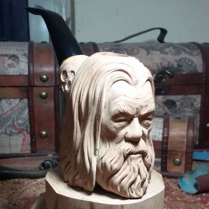 hand carved gandalf the white pipe