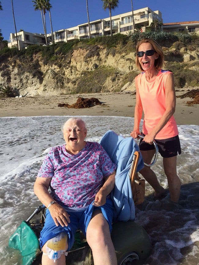 happy grandma beach