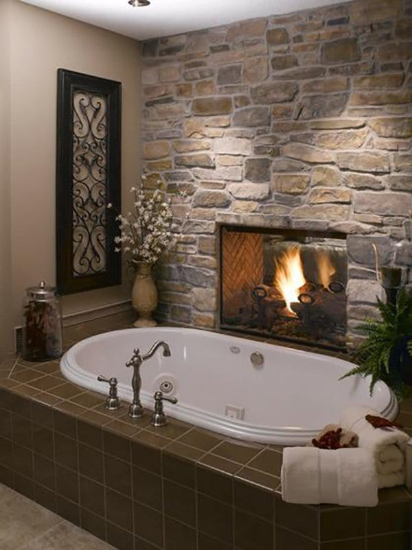 home improvements fireplace near tub