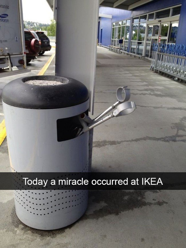 ikea jokes crutches garbage