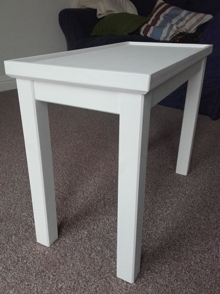 ikea wood table painted white