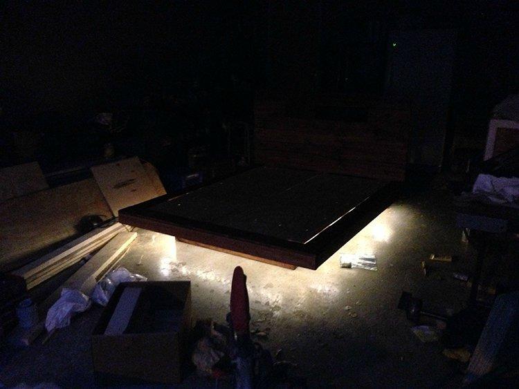 levitating bed lighting on