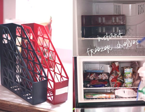 magazine holder freezer shelves