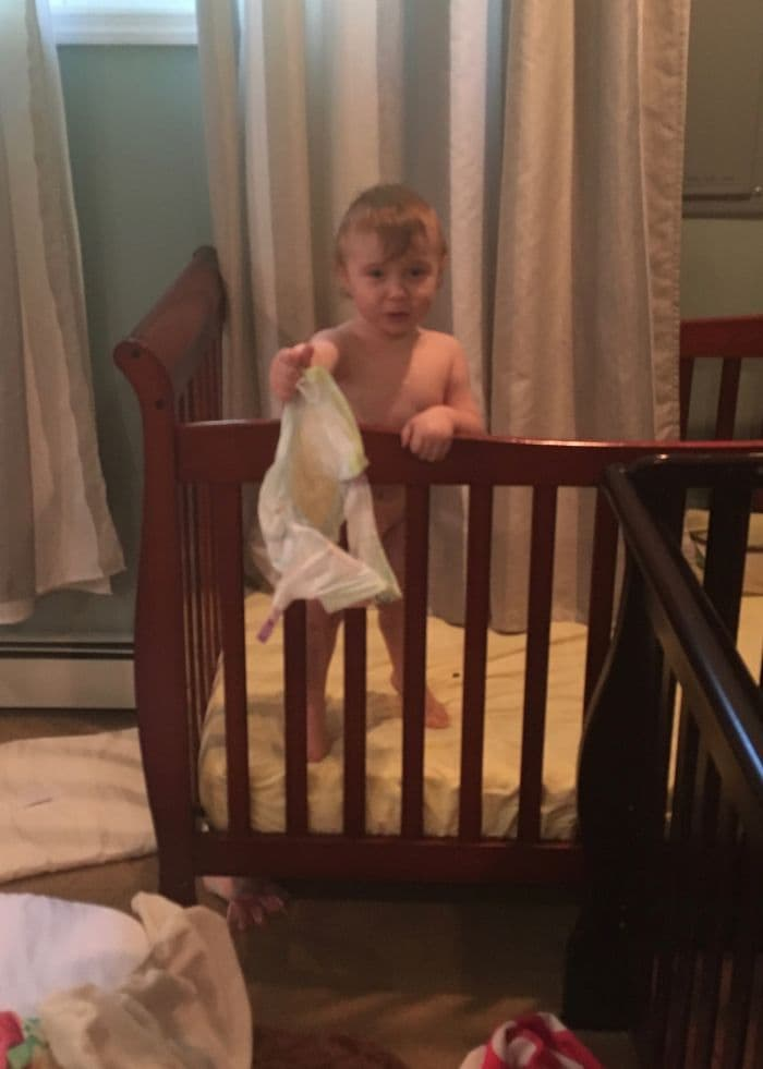 mom realities removing diaper