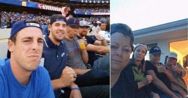 mom son selfies