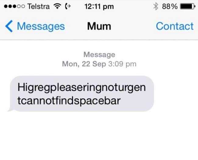 no spacebar message