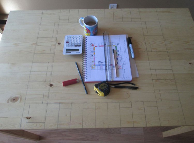 pencil outline monopoly table