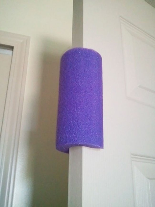 pool noodles on doors