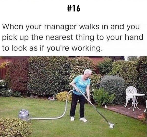 pretending to work