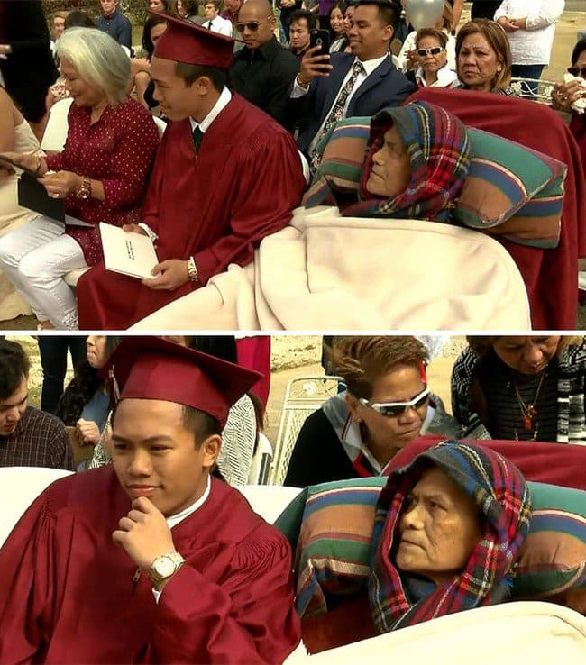 sick father son graduation