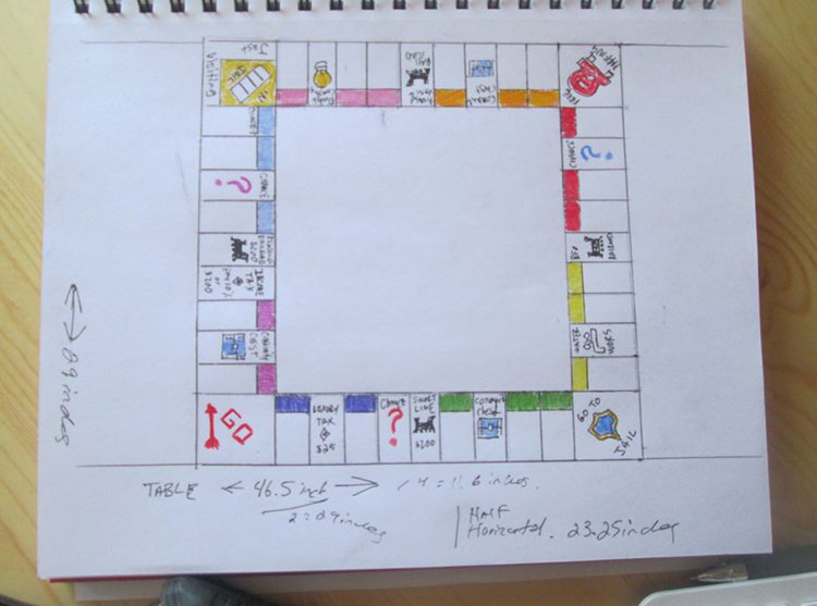 sketch and measurments monopoly table